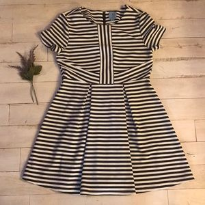 CeCe Black and White Striped Texture Dress